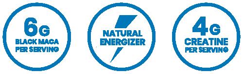 6g black maca per serving, natural energizer, 4g creatine per serving