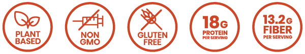 plant based, non-gmo, gluten free, 18g protein per serving, 13.2g fiber per serving