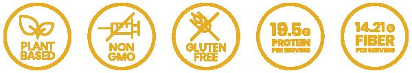 plant based, non-gmo, gluten free, 19.5g protein per serving, 14.21g fiber per serving