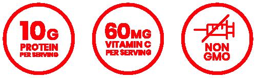 10g protein per serving, 60mg vitamin c per serving, non-gmo