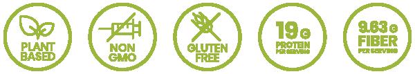 plant based, non-gmo, gluten free, 19g protein per serving, 9.63g fiber per serving