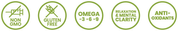 non-gmo, gluten free, omega-3 -6 -9, relaxation and mental clarity, antioxidants